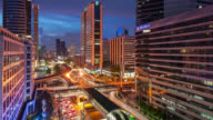 Time Lapse Day to Night Cityscape with dramatic sky at downtown Bangkok video