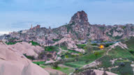 Time Lapse Day to Night at Uchisar, ancient ock castle, Cappadocia video