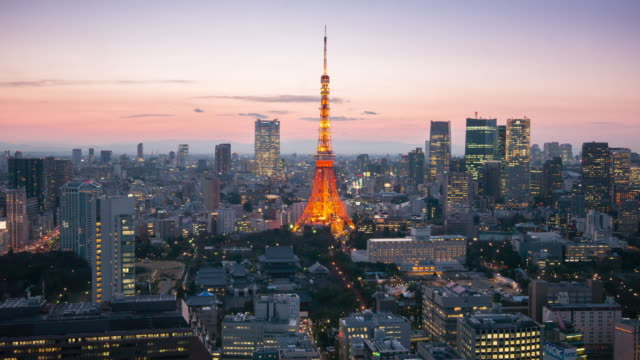 Time Lapse Day to Night Cityscape of Tokyo Tower , Tokyo skyline kanto Japan video