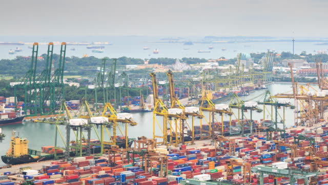 4K Time Lapse : Docks and Shipping Singapore video