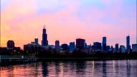 Time lapse : Downtown Chicago across Lake Michigan at sunset video