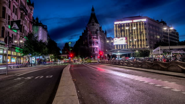 HD Time Lapse: Downtown City Street Stockholm Tilt video