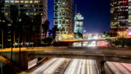 Time Lapse - Downtown Los Angeles with Traffic at Night video