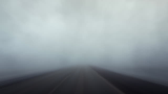 Time lapse driving through fog video