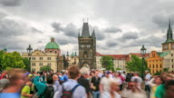 4K Time Lapse :Dusk on Charles bridge video