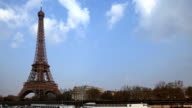 Time Lapse - Eiffel Tower on Left video