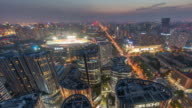 Time Lapse- Elevated View of Beijing Sanlitun at Dusk (WS Panning) video