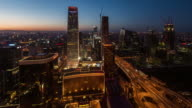 Time Lapse- Elevated View of Beijing Skyline at Dawn, from Dawn to Day (WS HA LR Pan) video
