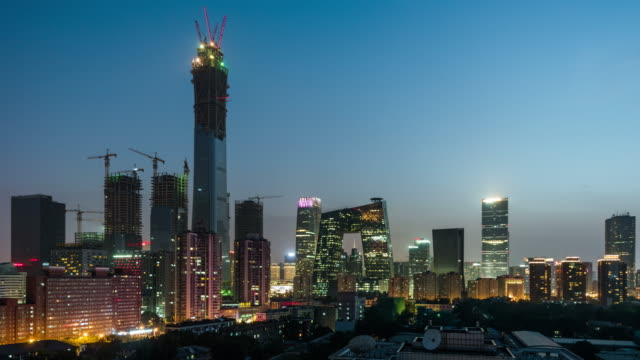 Time Lapse- Elevated View of Beijing Skyline at Night video