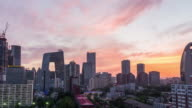 Time Lapse- Elevated View of Beijing Skyline, Day to Dusk Transition (RL Pan) video