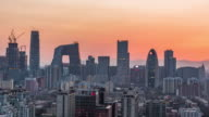 Time Lapse- Elevated View of Beijing Skyline, Day to Night Transition (LR Pan) video
