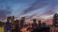 Time Lapse- Elevated View of Beijing Skyline, Dusk to Night Transition (WS Panning) video