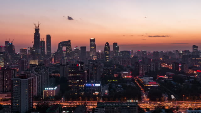Time Lapse- Elevated View of Beijing Skyline, Dusk to Night Transition video