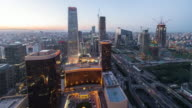 Time Lapse- Elevated View of Beijing Skyline, from Day to Night (WS LR Pan) video
