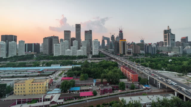 Time Lapse- Elevated View of Beijing Skyline video