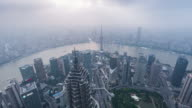 Time Lapse- Elevated View Of Shanghai Skyline (WS HA Panning) video
