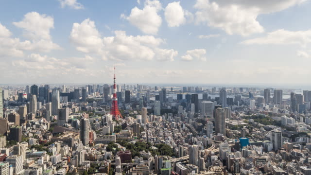 Time Lapse - Elevated View of Tokyo Skyline (Zoom Out) video