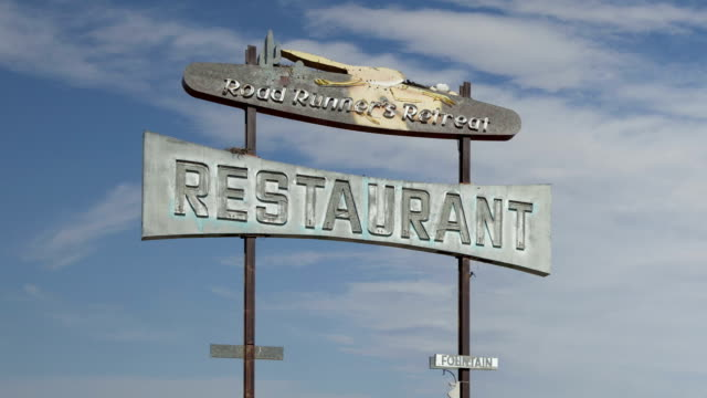 Time lapse extreme close up zoom out Route 66 vintage restaurant video