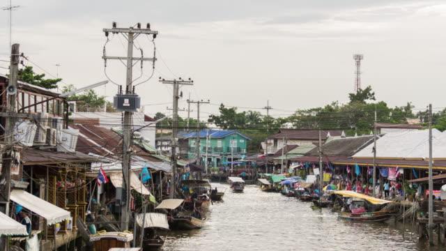 4K Time Lapse Floating Market at Dusk,Amphawa floating market in Thailand video
