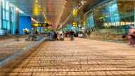 Time lapse footage of passengers in Changi international airport in Singapore video