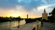 HD Time lapse: Golden Tower in Sevilla Spain sunset video