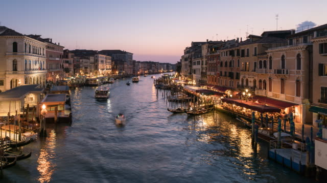 Time lapse Grand Canal at Dusk in Venice, Italy, Cityscape video