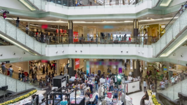 Time lapse group of people have walking and buy something at shopping mall with 4K (3fps) format. video