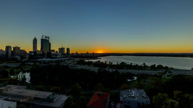 Time lapse HD Footage of beautiful dramatic Sunrise At Perth City, Australia video