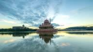 Time lapse HD Footage of dramatic Sunrise At Putra Mosque, Putrajaya video