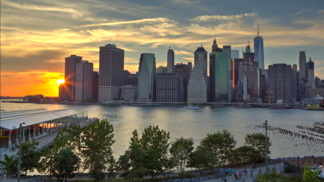 Time lapse HDR at sunset downtown manhattan NYC video