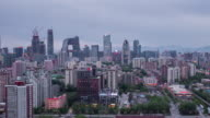 Time Lapse- High angle view of Beijing Skyline, from Dusk to Night (WS HA Panning) video