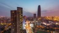 Time Lapse- High angle view of Tianjin Skyline at Dusk (WS HA Zoom out) video