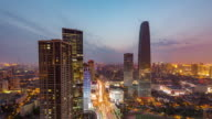 Time Lapse- High angle view of Tianjin Skyline at Dusk (WS HA Panning) video