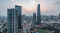 Time Lapse- High angle view of Tianjin Skyline (WS HA Panning) video