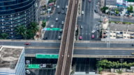 Time lapse high angle view of traffic in Bangkok video