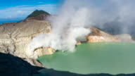 4K Time lapse High Angle/Zoom out Crater ijen volcano, East Java, Indonesia video
