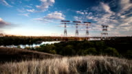 time lapse, high-voltage power lines, energy industry video