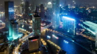 Time Lapse- Illuminated Skyscrapers in Tianjin at night (Panning) video