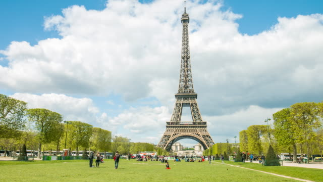 Time lapse in the Champ de Mars with Eiffel Tower in the background video