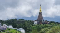 Time lapse Landmark Two pagoda in doi Inthanon national park at chiang mai Thailand video