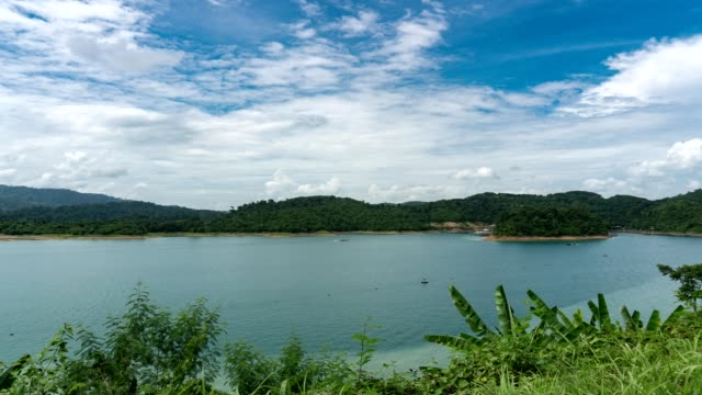 Time Lapse landscape tropical forest and canal in surat thani province thailand video