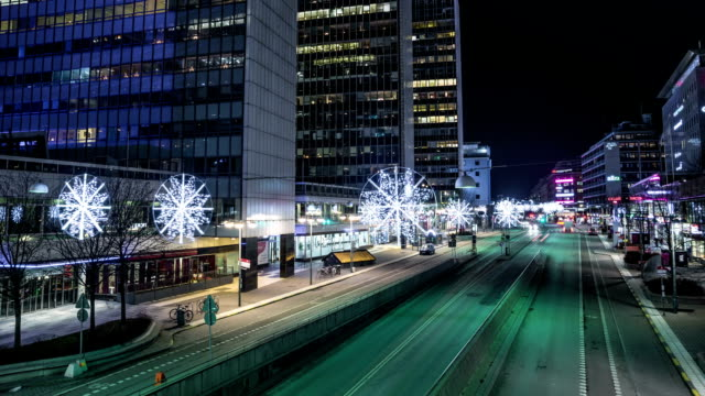 HD Time Lapse: Late Night City Street video
