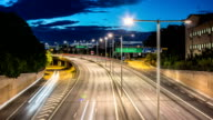 HD Time Lapse: Late Night Highway Traffic video