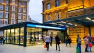 4K time lapse London train tube underground station, passengers in rush hour, England, UK video
