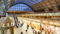 Time lapse London train tube underground station, passengers in rush hour, England, UK video