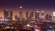 Time Lapse - Los Angeles Downtown at night video