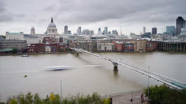 Time lapse Millennium Bridge on Thames in London video