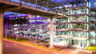 Time lapse modern lifts airport car park video