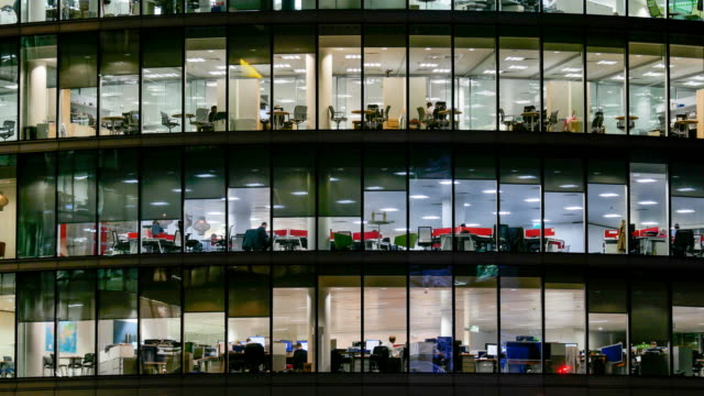 4K time lapse, Movement of business people in office building zone, London, England video