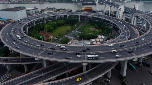 Time Lapse- Nanpu Bridge, City Traffic of Shanghai (CU HA Panning) video